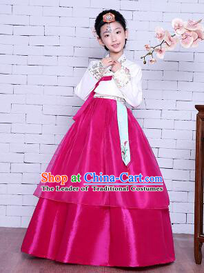 Korean Traditional Girl Dress Princess Clothes Children Dancing Costume Stage Show Halloween White Top Red Skirt