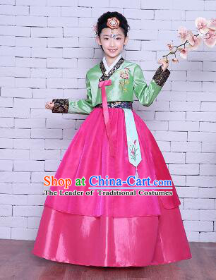 Korean Traditional Girl Dress Princess Clothes Children Dancing Costume Stage Show Halloween Green Top Red Skirt