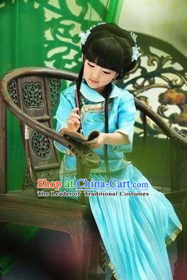 Min Guo Girl Dress Traditional Chinese Clothes Ancient Costume Tang Suit Children Kid Show Stage Wearing Dancing Blue