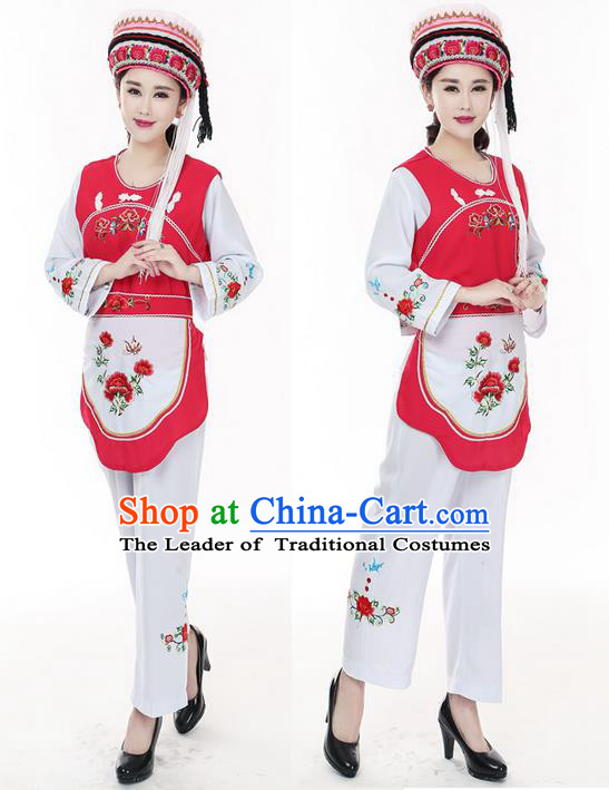 Traditional Chinese Bai Nationality Dancing Costume, Baizu Female Folk Dance Ethnic Dress, Chinese Minority Nationality Embroidery Costume for Women