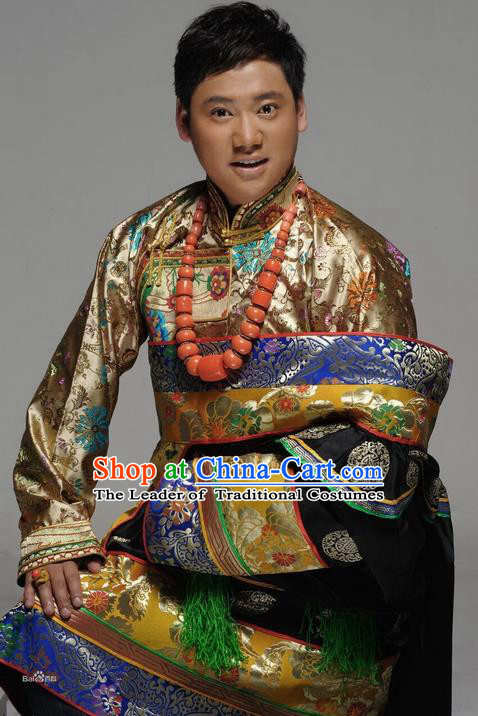 Traditional Chinese Zang Nationality Dancing Costume, Tibetan Male Folk Dance Ethnic Dress, Chinese Minority Tibetan Nationality Embroidery Costume for Men
