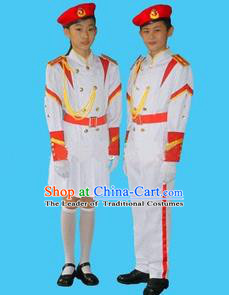 Traditional Modern Military Costume, Children Opening Flag Raiser Ceremony Costume, Modern Military Band Clothing for Students