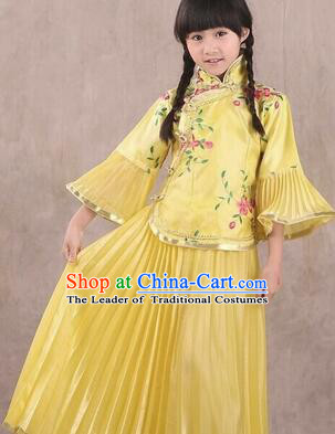 Min Guo Girl Dress Traditional Chinese Clothes Ancient Costume Tang Suit Children Kid Show Stage Wearing Dancing Yellow