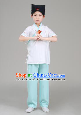 Han Fu For Children Chinese Traditional Dress Short Sleeves Stage Show Ceremonial Costumes Gray Top Green Pants