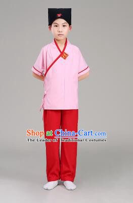 Han Fu For Children Chinese Traditional Dress Short Sleeves Stage Show Ceremonial Costumes Green Top Blue Pants
