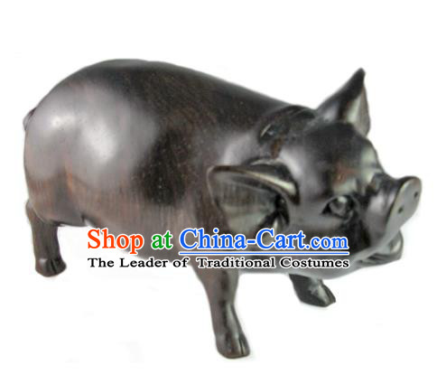Traditional Asian Thai Furnishing Articles Thai Handmade Handicrafts Accumulate Wood Carving Pig