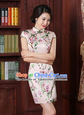 One Piece Dress Qi Pao Cheongsam Styel Short Sleeves Chinese Traditional Clothes Summer