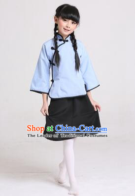 Chinese Traditional Clothes for Children Girl Wu Si Period Student Youth Day Stage Costume Blue