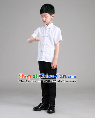 Chinese Traditional Clothes for Children Boy Short Sleeves Tang Suit Show Stage Costume White