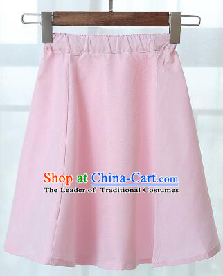 Chinese Style Skirt Min Guo Student Dress Girl Female Kids Show Costume Stage Clothes Pink