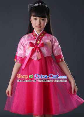 Korean Dress for Girls Children Clothes Stage Costume Formal Dress Full Attire Dancing Costume Show Pink Top Red Skirt