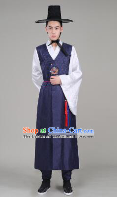 Korean Traditional Formal Dress for Men Clothes Traditional Korean Costumes Full Dress Formal Attire Ceremonial Dress Court Dark Blue