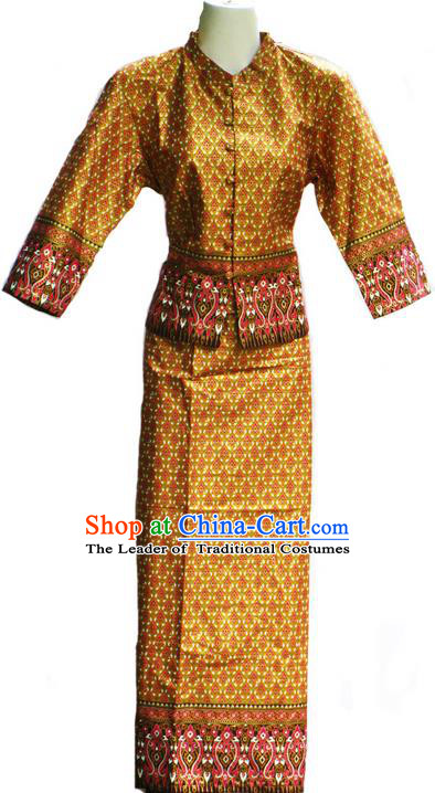 Traditional Asian Thai Costume Complete Set, Thai Waitress Silk Fabrics Suit for Women