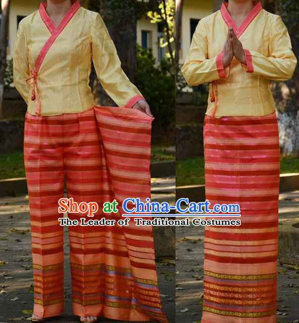 Traditional Asian Thai Costume Complete Set, Thai Waitress High Grade Silk Fabrics Shawl Suit for Women