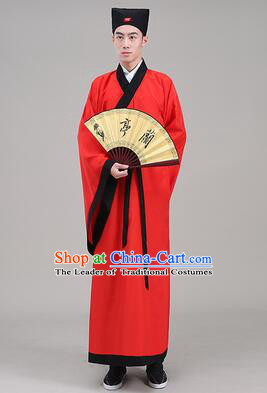 Tang Suit Chinese Traditional Costume Han Fu Garments straight-front Myeonbok Stage Show Dress Red