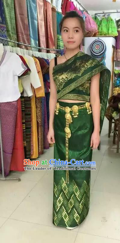 Traditional Asian Thai Palace Princess Wedding Costume Complete Set, Thai Shawl Royal Court Embroidery Clothing for Women