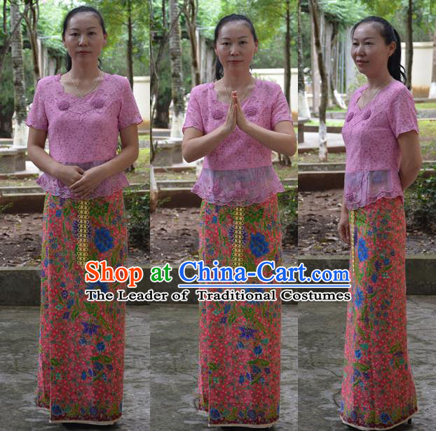 Traditional Asian Thai Palace Princess Wedding Skirt, Thai Royal Court Embroidery Dress for Women