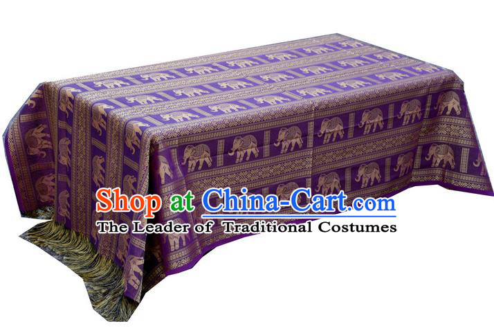 Traditional Asian Thai Palace decoration Ornaments Silk Elephant Table Cloth, Thai High Grade Silk Table Flag Table Cover