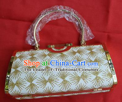 Traditional Asian Thai Jewelry Accessories Wedding Handbags, Thai Bangkok Bride Gold Handbags for Women