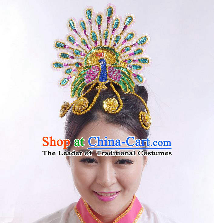 Traditional Chinese Yangge Hair Accessories, Fan Dancing Headwear, Folk Dance Yangko Headdress, China National Minority Dancing Stage Accessories