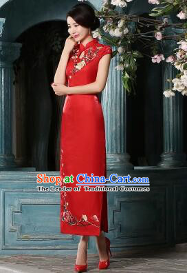 Traditional Chinese Women Dress Qi Pao Choengsam  Bride Clothes Wedding Long Dress Evening Dresses
