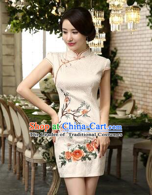 Chinese Traditional One Piece Dobby Cotton Dress Short Sleeves Qi Pao Cheongsam Styel Short Sleeves Chinese Traditional Clothes