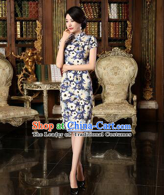 Chinese Traditional One Piece Dress Linen Short Sleeves Qi Pao Cheongsam Styel Chinese Traditional Clothes Slim Fashionable Purple