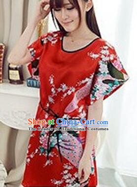 Night Suit for Women Night Gown Bedgown Leisure Wear Home Clothes Chinese  Traditional Style Peacock Red de501a9d1