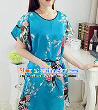 Night Suit for Women Night Gown Bedgown Leisure Wear Home Clothes Chinese Traditional Style Peacock Light Blue