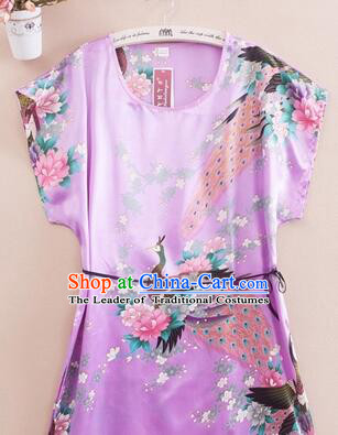 Night Suit for Women Night Gown Bedgown Leisure Wear Home Clothes Chinese Traditional Style Peacock Light Purple