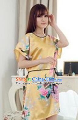 Night Suit for Women Night Gown Bedgown Leisure Wear Home Clothes Chinese Traditional Style Peacock Red