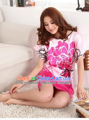 Night Suit for Women Night Gown Bedgown Leisure Wear Home Clothes Chinese Traditional Style Peony Flowers Pink