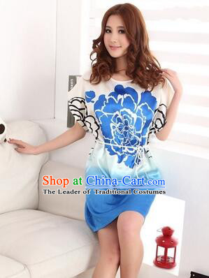 Night Suit for Women Night Gown Bedgown Leisure Wear Home Clothes Chinese Traditional Style Peony Flowers Blue