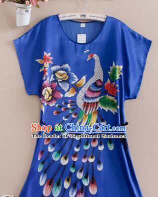 Night Suit for Women Night Gown Bedgown Leisure Wear Home Clothes Chinese Traditional Style Large Peacock Blue