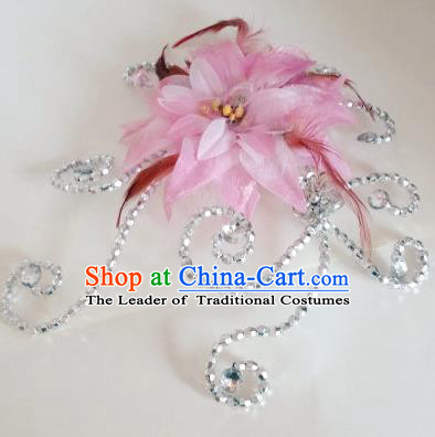 Traditional Chinese Yangge Hair Accessories, Fan Dancing Headwear, Folk Dance Yangko Peacock Dance Headdress, Stage Accessories