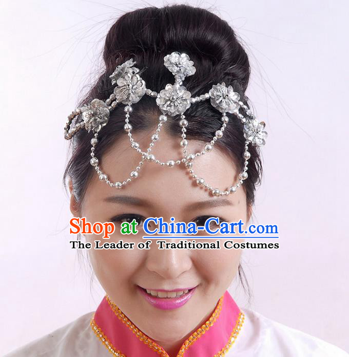Traditional Chinese Yangge Hair Accessories, Fan Dancing Headwear, Folk Dance Yangko Peacock Dance Headdress, Stage Accessories Minimum