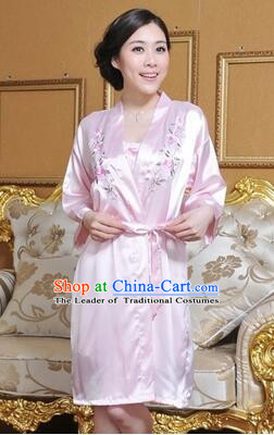 Embroidery Night Gown Women Sexy Camisole Skirt Two Pieces Night Suit Nighty Bedgown Pink