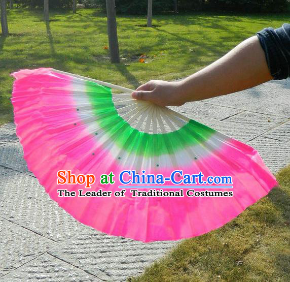 Traditional Pure Silk Color Change Three Color Chinese Dance Folk Dance Hand Fans Yangge Dance Hand Fan Oriental Fan