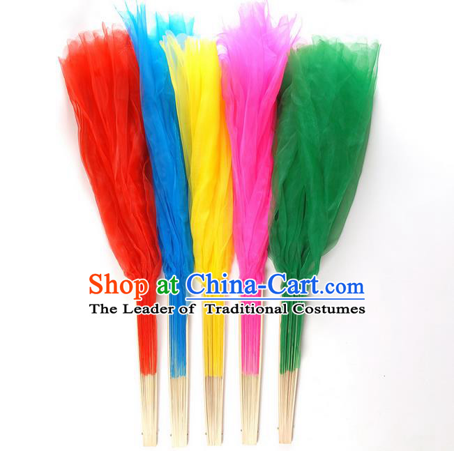 45cm Pure Silk Long Color Change Chinese Dance Folk Dance Hand Fans Yangge Dance Hand Fan Oriental Fan