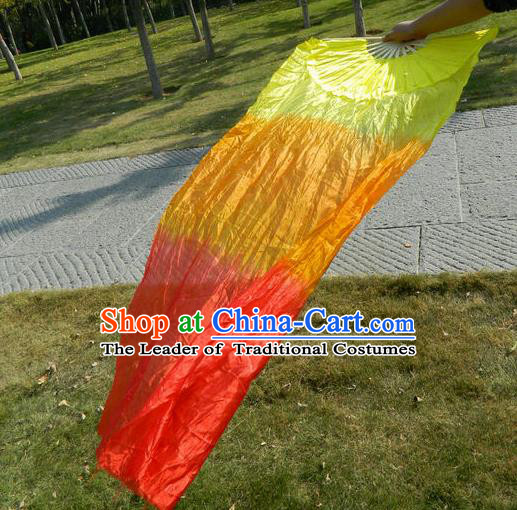 1.8 Meters Pure Silk Long Color Change Chinese Dance Folk Dance Hand Fans Yangge Dance Hand Fan Oriental Fan
