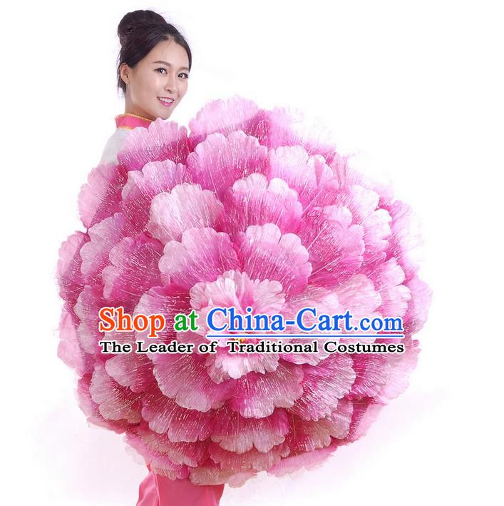 Traditional Chinese Handmade Umbrellas Folk Dance Stage Props Umbrellas Yangge Dance Peony Umbrella