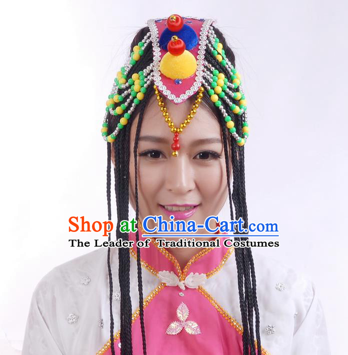 Traditional Chinese Yangge Hair Accessories, Fan Dancing Mongols Headwear, Folk Dance Yangko Peacock Dance Headdress, Stage Accessories