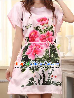 Night Gown Women Sexy Skirt Ancient China Style Chinese Traditional Beauty Pattern Night Suit Nighty Bedgown Peony Blue