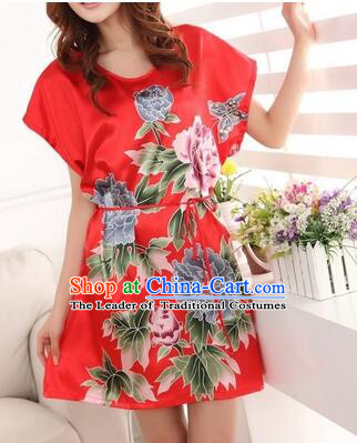 Night Gown Women Sexy Skirt Night Suit Nighty Bedgown Peony Red