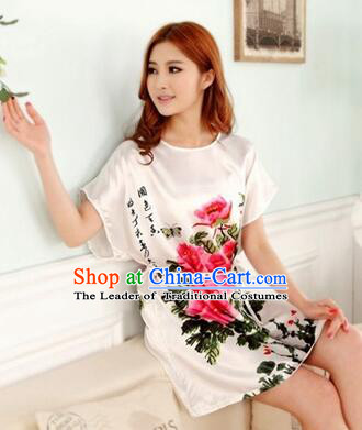 Night Gown Women Sexy Skirt Ancient China Style Chinese Traditional Beauty Pattern Night Suit Nighty Bedgown Peony White