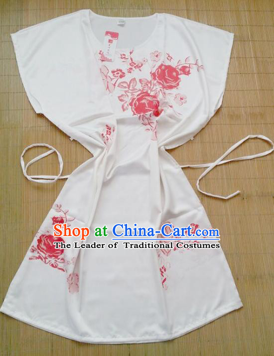 Night Gown Women Sexy Skirt Ancient China Style Chinese Traditional Chinese Night Suit Nighty Bedgown Red Flowers
