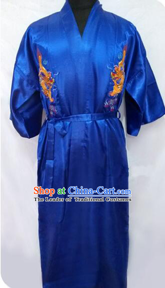New Style Kimono Dragon Embroidered Chinese Loong Dragon Men Night Gown Leisure Clothes for Emperors Blue