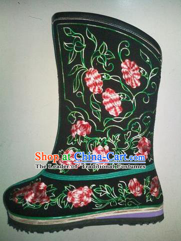 Traditional Chinese Minority Mongol Nationality Ethnic Minorities Mongolian Dance Pure Woolen Fabric Boots Mongolian Knee Boots Jockey Boots Snow Boots for Women