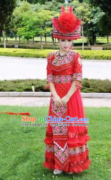 Traditional Chinese Miao Nationality Wedding Costume Set, Hmong Luxury Improved Bride Folk Dance Ethnic Long Skirt, Chinese Minority Nationality Embroidery Costume for Women