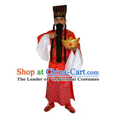 Ancient Chinese God Of Wealth Costume And Accessories Set Caishen New Year Celebration Dress For Men